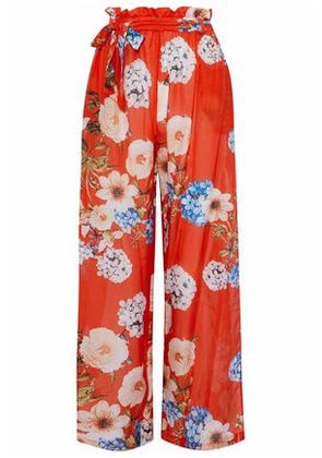 Nicholas Woman Belted Floral-print Cotton And Silk-blend Wide-leg Pants Tomato Red Size XS