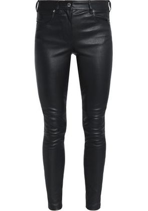 Givenchy Woman Leather Skinny Pants Black Size 36