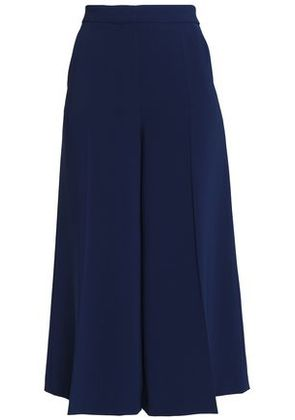 Boutique Moschino Woman Pleated Crepe Culottes Navy Size 46