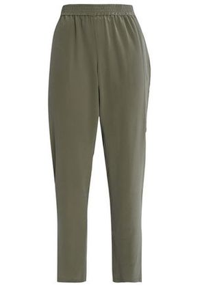 Joie Woman Cropped Silk Tapered Pants Army Green Size XS