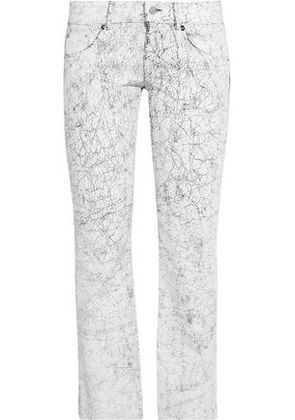 Mm6 By Maison Margiela Woman Low-rise Cracked-leather Straight-leg Pants White Size 40