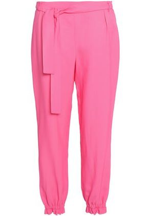 Msgm Woman Belted Twill Tapered Pants Bright Pink Size 40