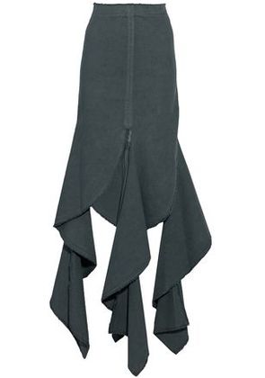J.w.anderson Woman Draped Cotton-canvas Maxi Skirt Dark Green Size 8