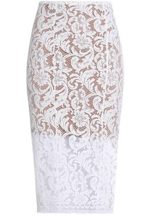 Galvan London Woman Cotton-blend Guipure Lace Skirt White Size 40