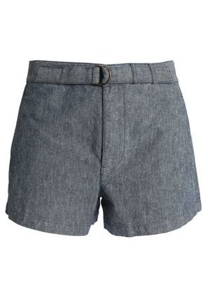 A.p.c. Woman Belted Cotton And Linen-blend Shorts Mid Denim Size 38