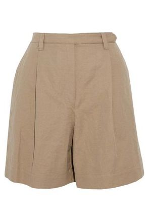 Brunello Cucinelli Woman Pleated Cotton And Linen-blend Twill Shorts Sand Size 44