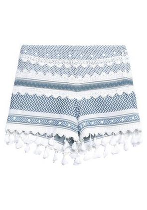 Dodo Bar Or Woman Embellished Guipure Lace-trimmed Cotton-jacquard Shorts Blue Size S