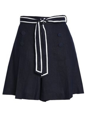 Zimmermann Woman Meridian Sailor Tie-front Button-embellished Linen Shorts Navy Size 1