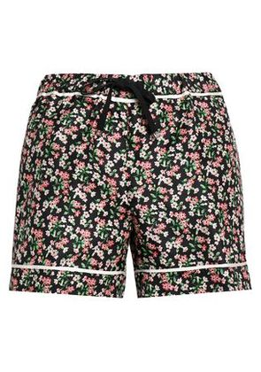 Moncler Woman Grosgrain-trimmed Floral-print Silk-twill Shorts Navy Size 42
