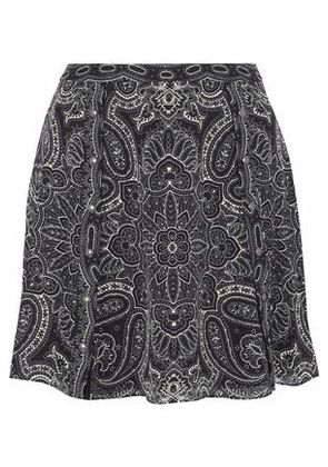 Haute Hippie Woman Printed Silk-chiffon Flared Mini Skirt Black Size 4