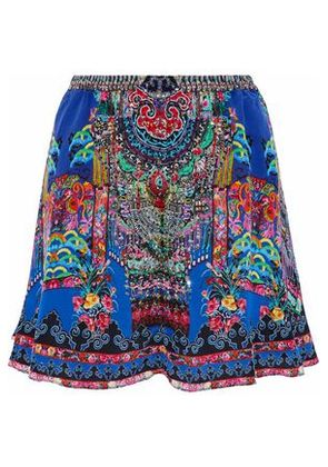 Camilla Woman Embellished Printed Silk Crepe De Chine Mini Skirt Multicolor Size M