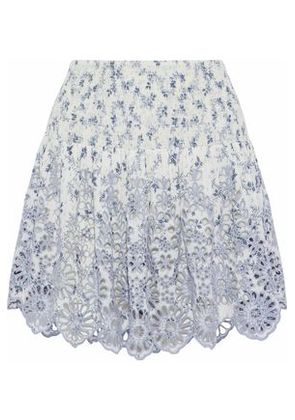 Ganni Woman Emile Printed Broderie Anglaise Mini Skirt Off-white Size 42