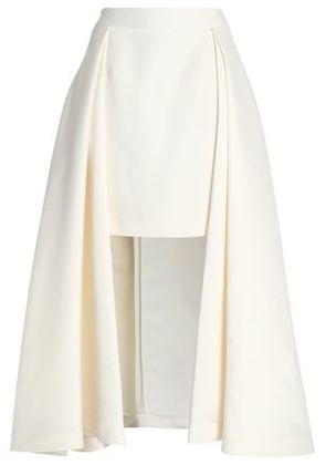 Halston Heritage Woman Pleated Satin Maxi Skirt Ivory Size 6
