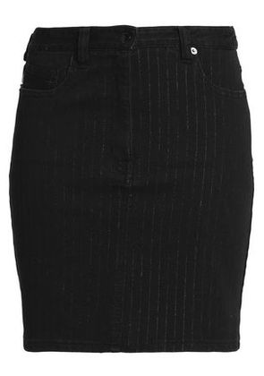 Love Moschino Woman Pinstriped Denim Mini Skirt Black Size 40