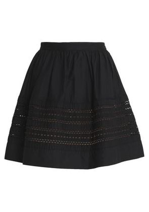 Redvalentino Woman Embroidered Pleated Cotton Mini Skirt Black Size 42