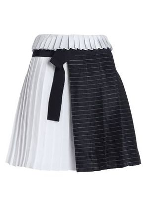 Victoria, Victoria Beckham Woman Paneled Striped Linen-blend And Satin Mini Skirt Navy Size 6