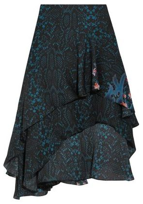 Preen By Thornton Bregazzi Woman Ambrosse Asymmetric Printed Silk-chiffon Skirt Midnight Blue Size M