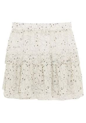 See By Chloé Woman Ruffled Printed Chiffon Mini Skirt White Size 42