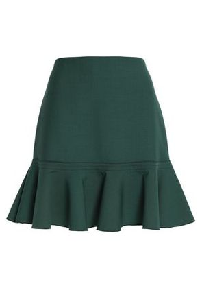 Victoria, Victoria Beckham Woman Fluted Crepe Mini Skirt Forest Green Size 8