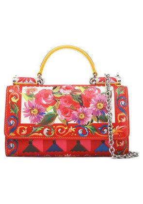 Dolce & Gabbana Woman Von Printed Textured-leather Shoulder Bag Red Size -