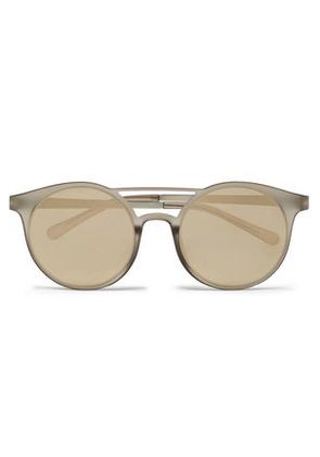 Le Specs Woman Round-frame Gold-tone And Acetate Sunglasses Stone Size -