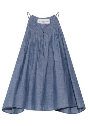 Apiece Apart Woman Galisteo Smocked Cotton-chambray Top Blue Size 10