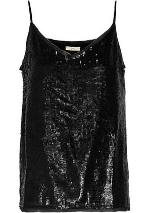 Joie Woman Gowa Sequined Georgette Top Black Size XS