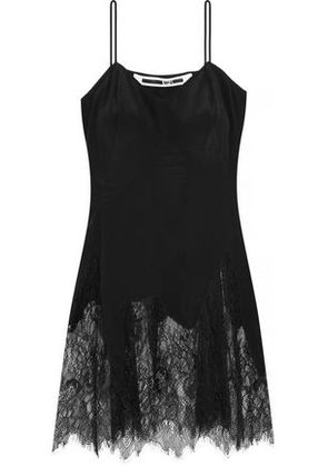 Mcq Alexander Mcqueen Woman Lace-trimmed Silk Camisole Black Size 40