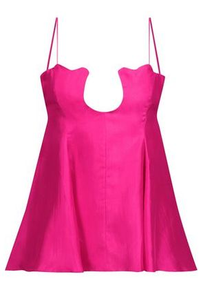 Paper London Woman Scala Pleated Silk-satin Twill Top Bright Pink Size 10