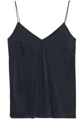 Charli Woman Paneled Crepe De Chine And Washed-silk Top Charcoal Size 12