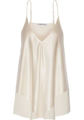 T By Alexander Wang Woman Chiffon-trimmed Silk-charmeuse Camisole Ivory Size 4