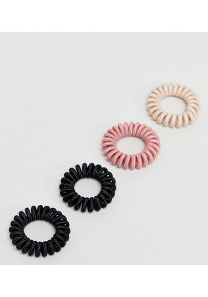 ASOS Pack of 4 Nude Mix Fabric Jelly Coil Hair Ties - Multi