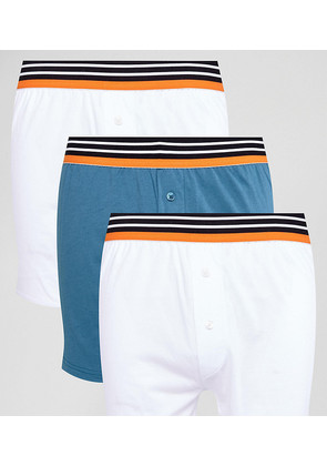 ASOS Jersey Boxer In White With Stripe Waistband 3 Pack SAVE - White