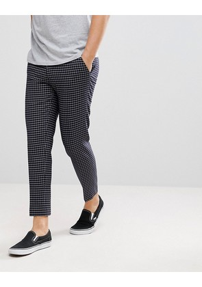 ASOS Skinny Crop Smart Trousers In Navy Grid Check - Navy