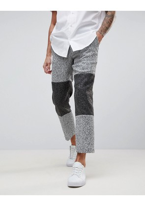 ASOS Slim Crop Smart Trousers In Grey Texture With Colour Block Panels - Grey