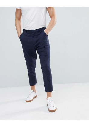 ASOS Tapered Smart Trousers In Navy Linen - Navy
