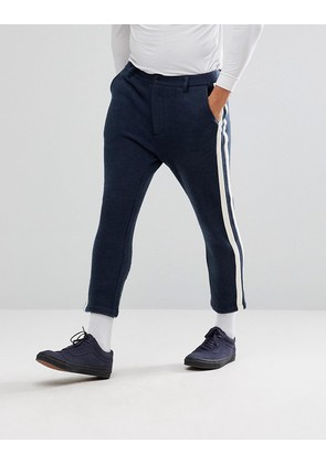 ASOS Tapered Cropped Trousers With Side Stripe In Navy - Navy