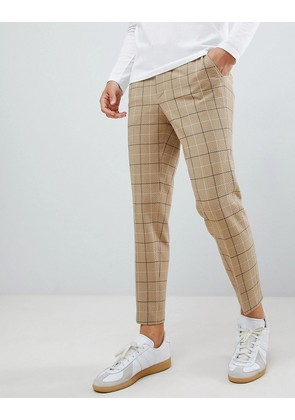 ASOS DESIGN skinny smart trouser in putty window pane check with drawcord waist - Putty