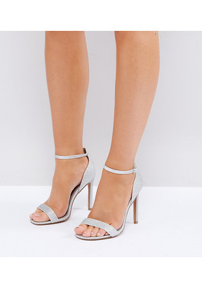 ASOS HANG TIME Wide Fit Barely There Heeled Sandals - Silver glitter