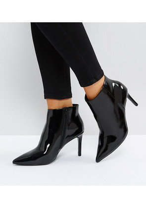 ASOS EMBERLY Wide Fit Pointed Ankle Boots - Black patent