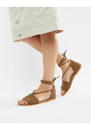 ASOS DESIGN Foster suede studded two part with tie leg - Khaki suede