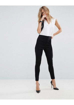 ASOS High Waist Trousers In Skinny Fit - Black