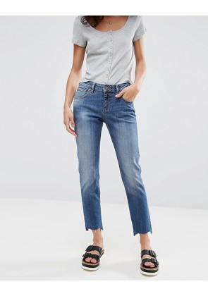 ASOS KIMMI Shrunken Boyfriend Jeans in Blake Vintage Darkwash with Stepped Hem - Vintage darkwash