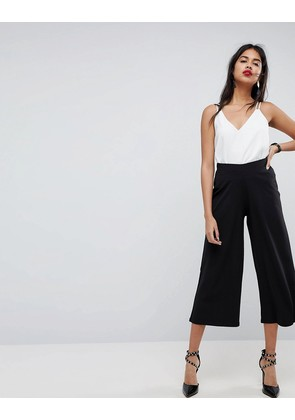 ASOS DESIGN cropped black wide leg trouser in jersey crepe - Black