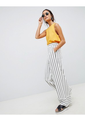 ASOS DESIGN tailored clean linen wide leg trousers in stripe - Stripe