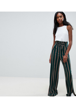 ASOS DESIGN Tall tailored candy stripe lace up front soft wide leg - Stripe