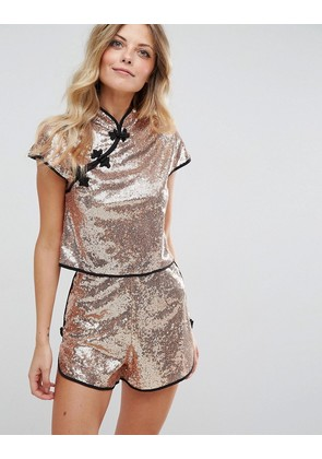 ASOS Sequin Chinoiserie Top with Mandarin Collar Co-ord - Nude