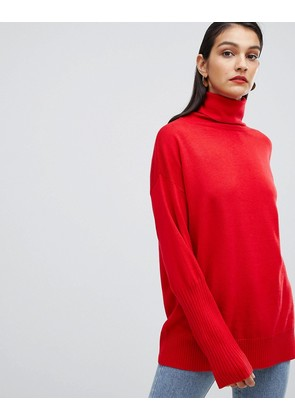 ASOS Oversized Jumper with Wide Sleeves and Roll Neck - Red