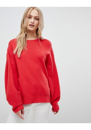 ASOS DESIGN Jumper In Oversize With Banana Sleeve - Red