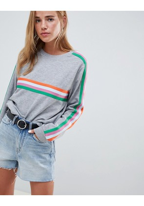 ASOS DESIGN oversized sweat with bright taping detail - Grey marl